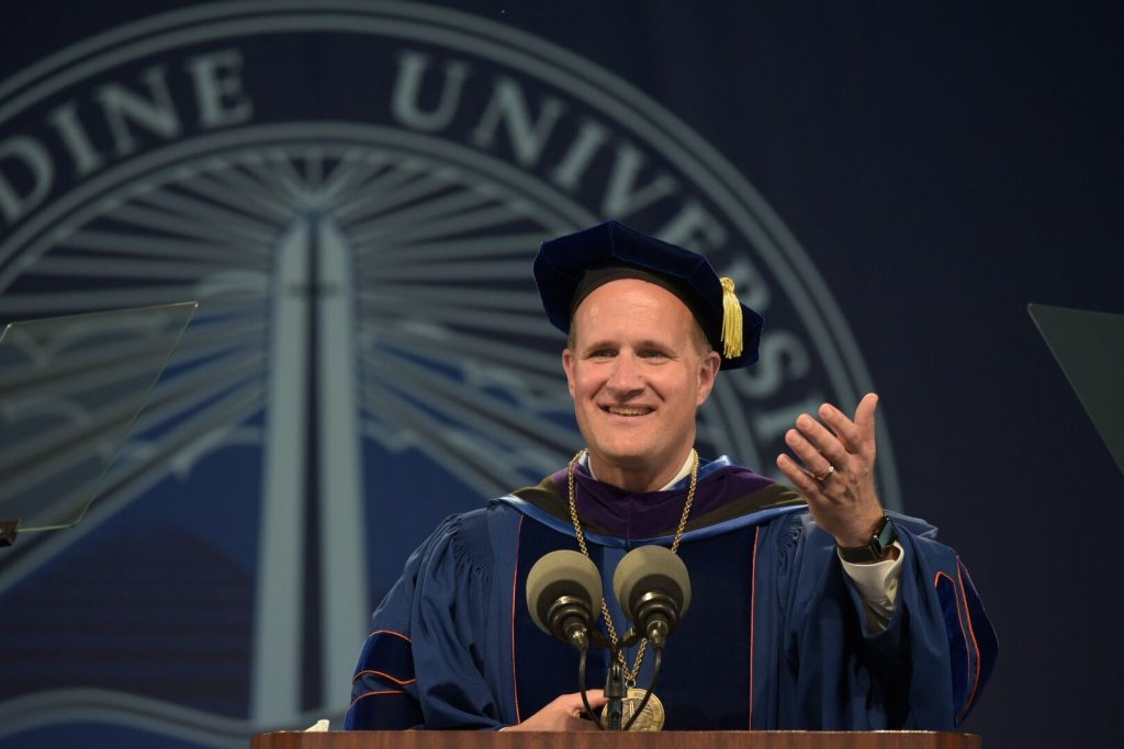 Jim Gash speaks at his inauguration as the eighth president of Pepperdine University.