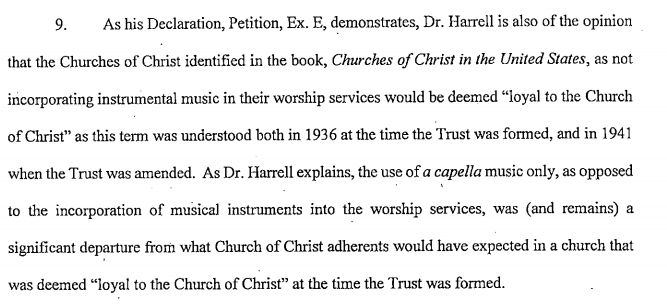Part of the court order quotes Ed Harrell, a church historian and professor emeritus at Auburn University.