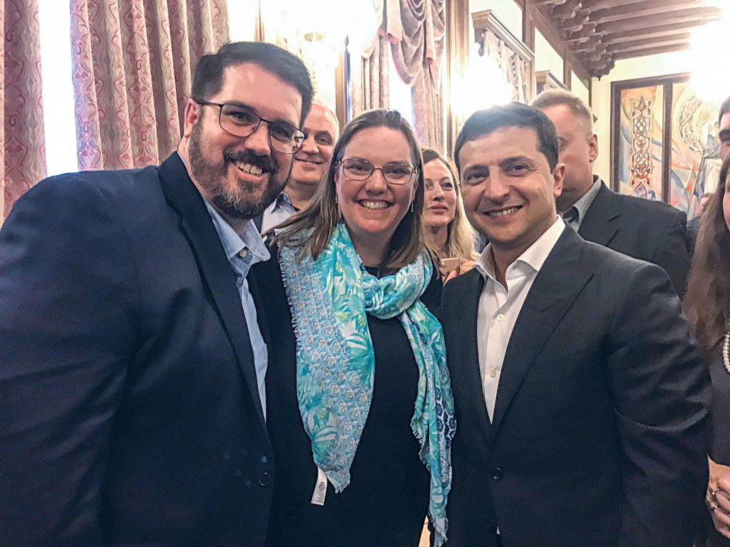 Andrew and Jenny Kelly with Ukrainian President Volodymyr Zelenskiy.