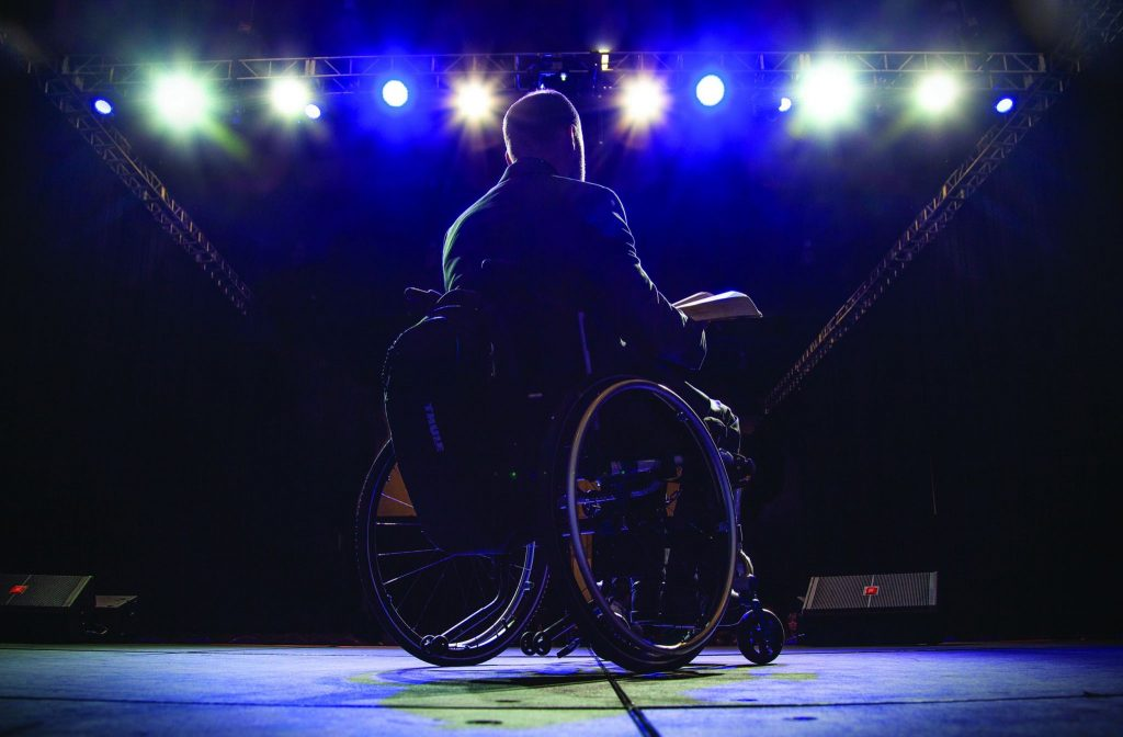 Three months after an all-terrain vehicle accident confined him to a wheelchair, Don Blackwell preaches at Polishing the Pulpit
