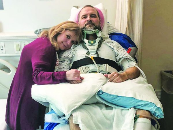 Sheri Blackwell visits her husband, Don, in the hospital following the accident. She also was injured.