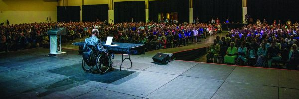 Don Blackwell shares the emotional story of his accident and his recovery before a crowd of thousands at this year's Polishing the Pulpit event in August.