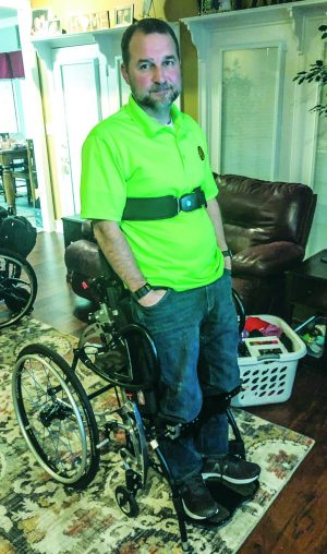 Don Blackwell recently received a standing wheelchair to help with issues that can develop from sitting.