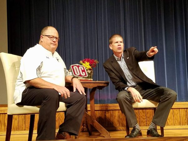 Allan Trimble and John deSteiguer address students during a chapel assembly at Oklahoma Christian University in October 2017.