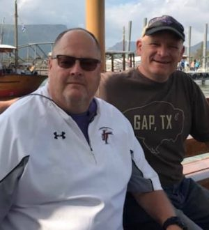 Allan Trimble and Mitch Wilburn together on a boat during a trip to visit the Sea of Galilee.