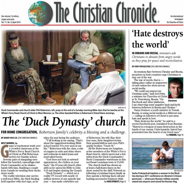 "Elsewhere, a Louisiana bayou family built on faith and duck hunting became celebrities via the reality television series ""Duck Dynasty."" For a few years anyway, the White's Ferry Road Church of Christ in West Monroe, La. — the Robertsons' home congregation — turned into a tourist attraction."