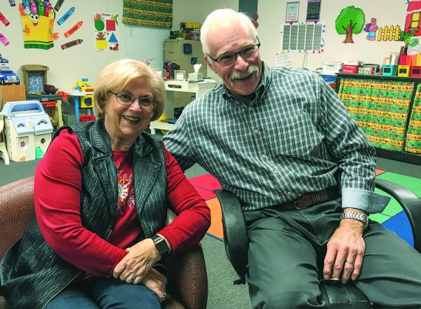 Allen and Jeanette Wiederstein in her pre-K classroom at Oklahoma Christian Academy.