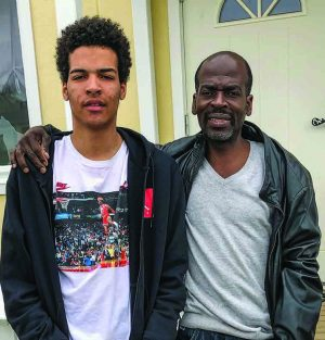 Immanuel Opoku and his father, George, at their home in Sweden.