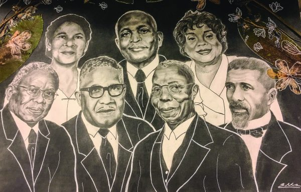 Annie C. Tuggle, Marshall Keeble and Sylvia Rose are featured on the top row with Fred Gray, R.N. Hogan, G.P. Bowser and Samuel R. Cassius depicted on the bottom row.