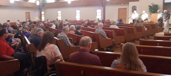 Members of the Mount Vernon Church of Christ meet together as one body for the first time on Jan. 12.