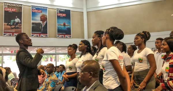 "The Heritage Christian College chorus sings during the school's Second Public Lecture, themed ""I Promise on my Honour,"" at the British Council in Accra, Ghana."