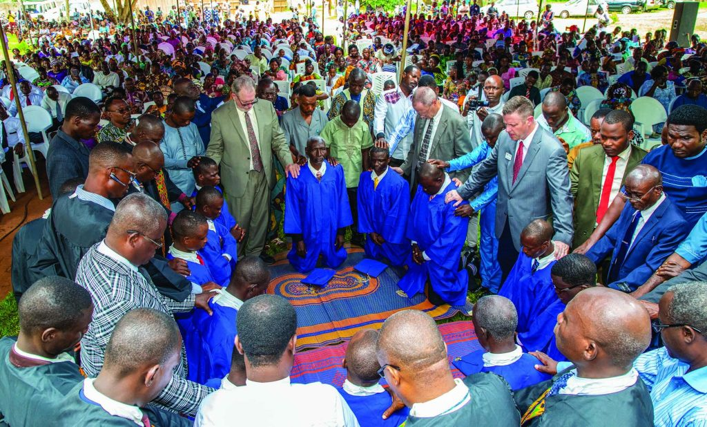 Church leaders from Benin and other West African nations join Christians from the U.S. to pray for a new class of graduates at the Benin Bible Training Center. African Christians launched the Center in 1995.