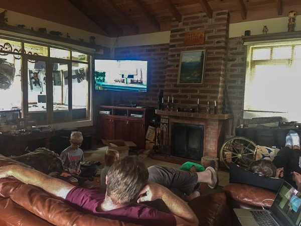 The Campbell family watches streaming worship services in their home in Ecuador.