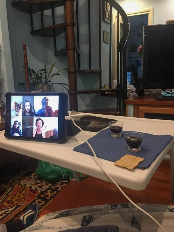Members of the Viale Jonio Church of Christ in Rome, Italy, meet for worship online.