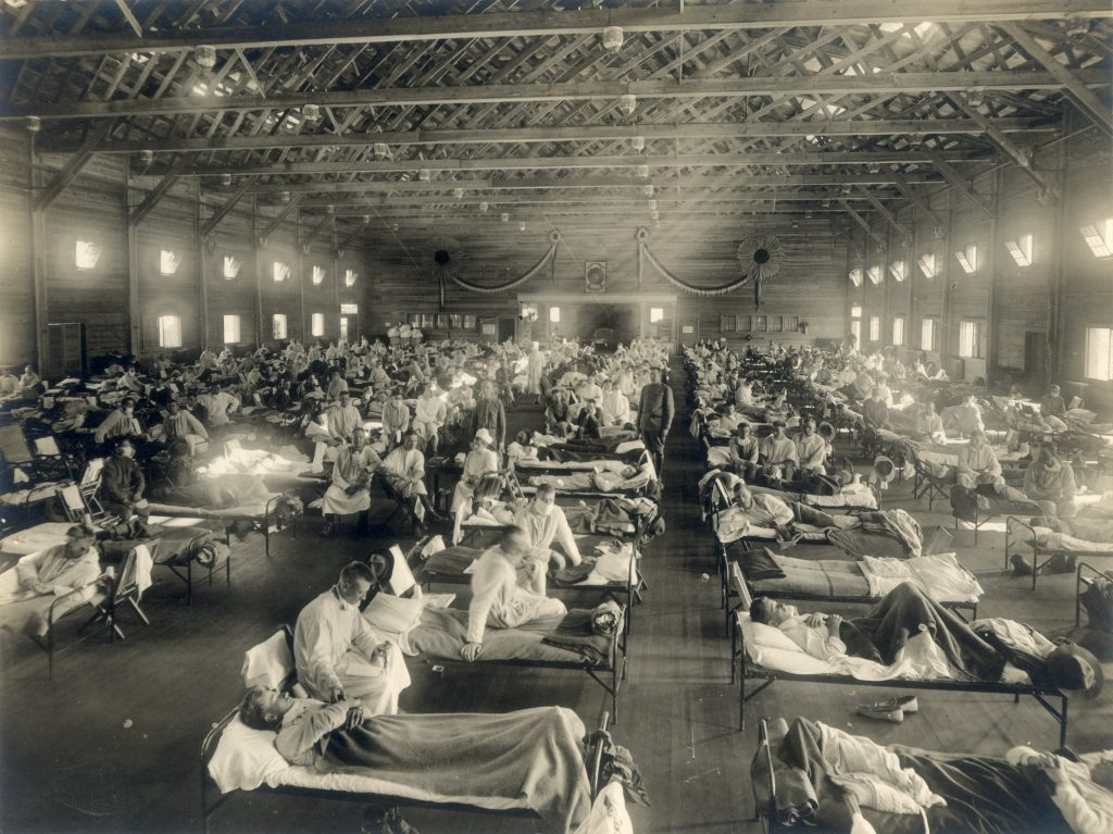 "Patients with the ""Spanish flu"" are seen at Camp Funston at Fort Riley, Kan., in 1918."