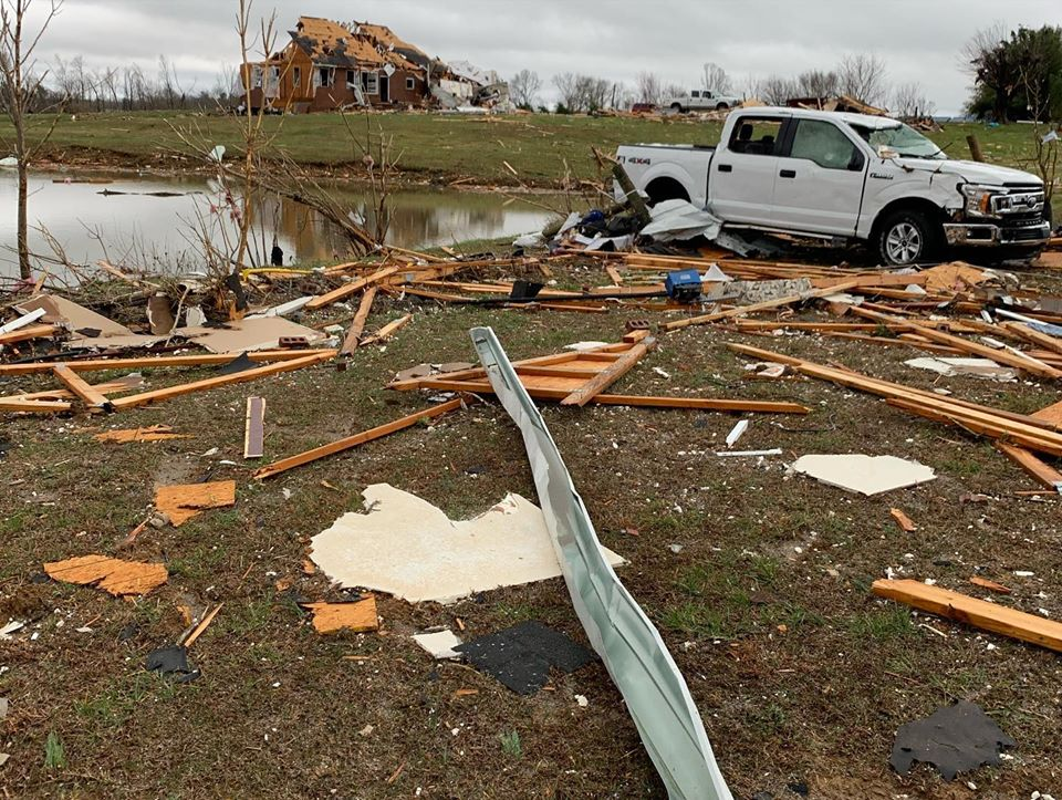 Damage from an EF-4 tornado surrounds the Double Springs Church of Christ.
