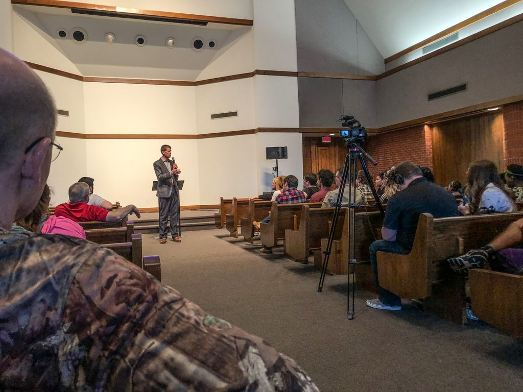 Oklahoma Christian University President John deSteiguer addresses the community on March 1.