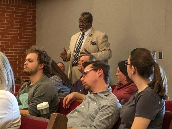 Gary Jones Sr. speaks during the meeting at Oklahoma Christian University.