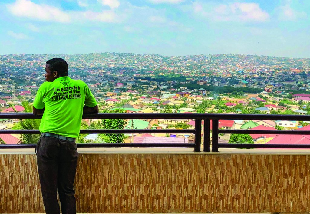 "For an usher wearing a shirt that reads ""I'm proud to be a member of the Church of Christ,"" the McCarthy Hill church's three-story meeting place offers a picturesque view."