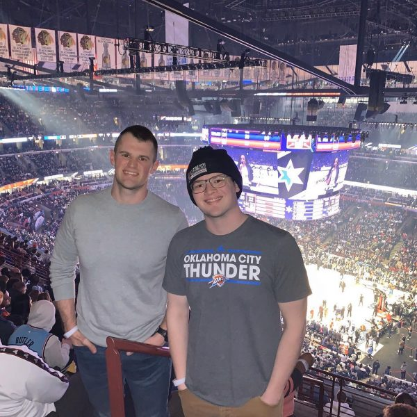 Keaton Ross, right, with his brother, Brady, at the NBA All-Star Game in Chicago.