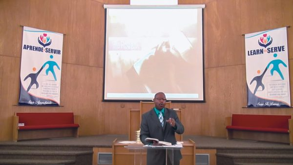 Willie Mays preaches during a livestream service of the Corona Church of Christ.