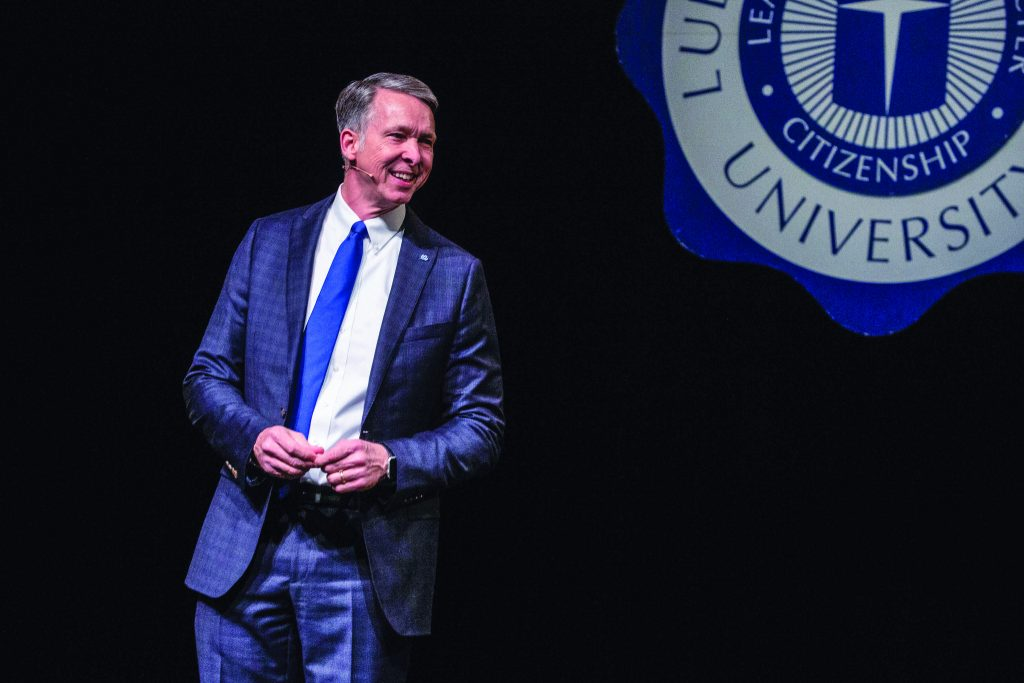 Scott McDowell shares his vision with students after his introduction as president of Lubbock Christian University on Feb. 27.