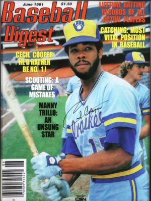 Cecil Cooper on the June 1981 cover of Baseball Digest magazine.