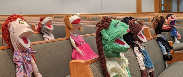 These puppets seem to be absolutely enthralled by the preaching at the Eastridge Church of Christ.