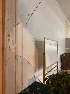 Windows at the West Broad Church of Christ were broken when protesters threw bricks through the glass early Sunday morning.