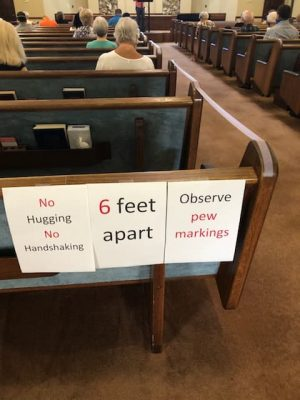 Signs greet worshipers at the Vero Beach Church of Christ in Florida.