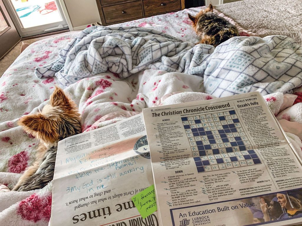 In the midst of the COVID-19 lockdown, new subscriber Andrea Wiley and her pups Baxter and Trixie get cozy with the Chronicle.