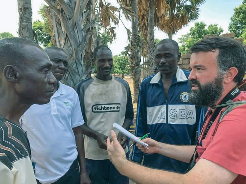In the African village of Dona Manga, Chad, Erik Tryggestad interviews ministers.