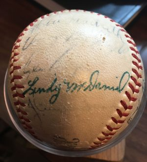 Lindy McDaniel's signature can be seen on the baseball that the St. Louis Cardinals signed for Joe Chesser in 1957.