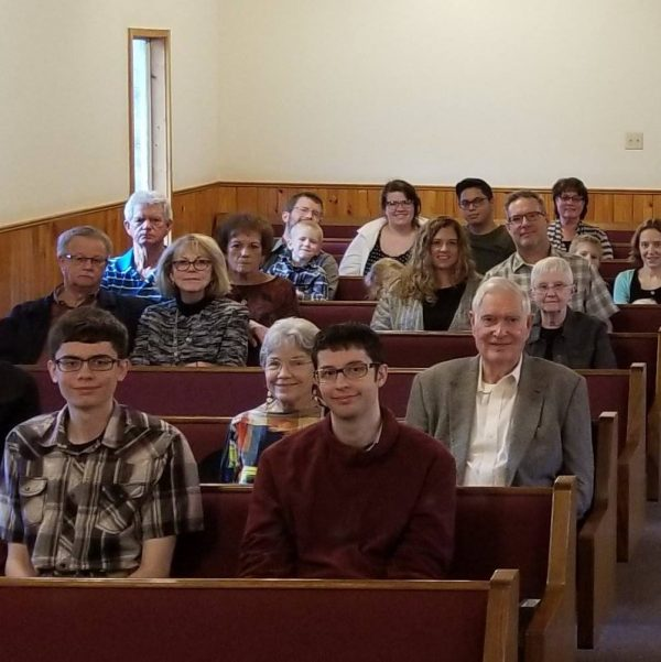 Lindy McDaniel, on the second row, is shown at the Lavon Church of Christ in Texas.