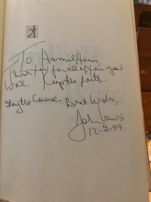 Rep. John Lewis signed a copy of his biography for Hamil Harris.