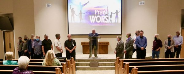 The congregation recognizes its leaders for their service during an extremely trying time.