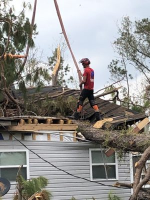 Bill Bunkhardt's house was damaged by a falling tree.