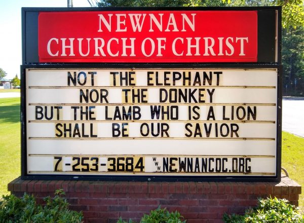 A sign at the Newnan Church of Christ in Georgia.