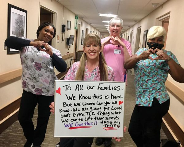 Staff at the Church of Christ Care Center in Michigan send an encouraging message to the families of their residents.