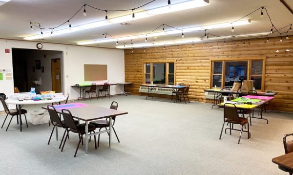 Tables are spread out in the Juneau Church of Christ annex building, where Glacier Valley Elementary students can access free Wi-Fi.
