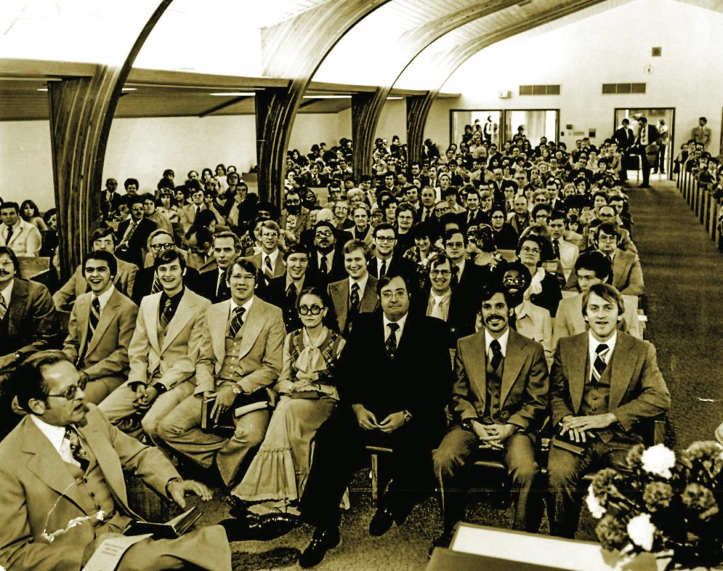 Dressed in their Sunday best, White's Ferry Road School of Preaching students gather for a worship assembly in the 1970s.