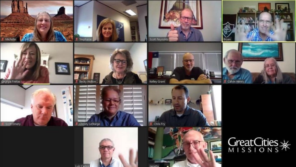 The Great Cities Mission staff meets via Zoom with Brazilian church leaders.