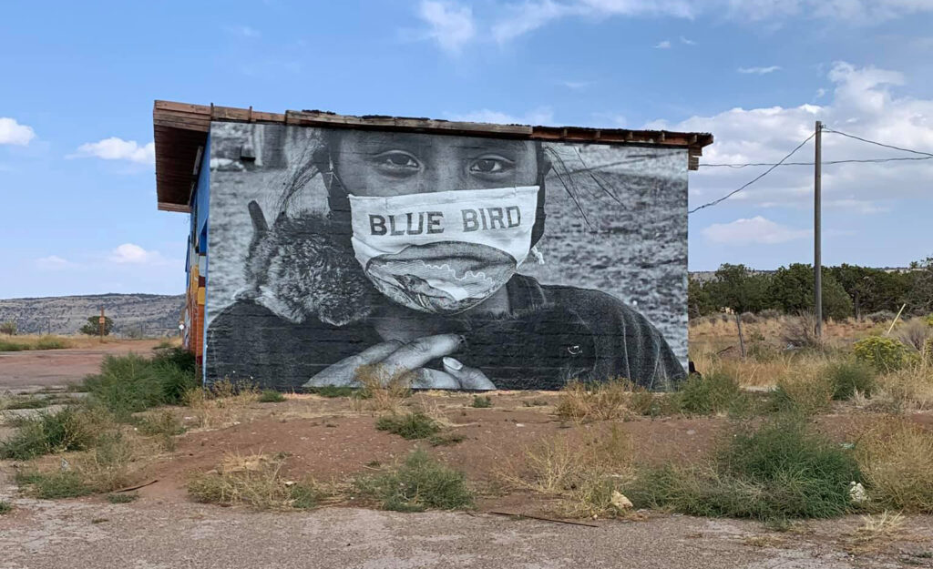 A mural in rural Arizona depicts a young American Indian with a face mask. COVID-19 has claimed nearly 600 lives in the vast Navajo Nation, which covers parts of Arizona, New Mexico and Utah. There are about 332,000 registered Navajos.
