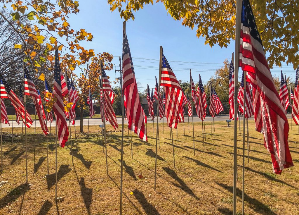 U.S. flags on the campus of Okahoma Christian University Nov. 5, 2020.
