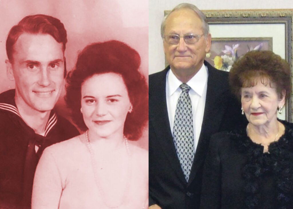 THEN AND NOW: Gordon and Irene Wallace exchanged wedding vows in 1945.