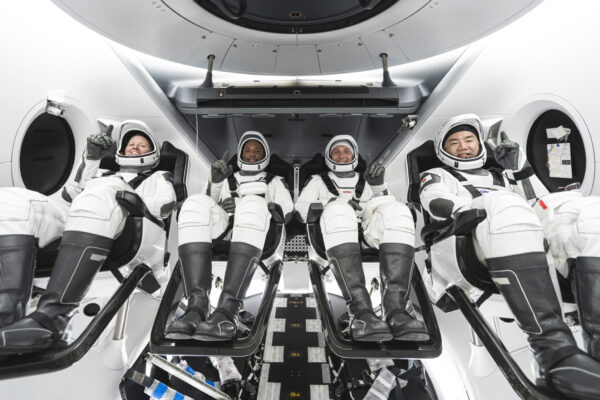 The SpaceX Crew-1 crew members, from left, are NASA astronauts Shannon Walker, Victor Glover and Mike Hopkins and Japan Aerospace Exploration Agency astronaut Soichi Noguchi.