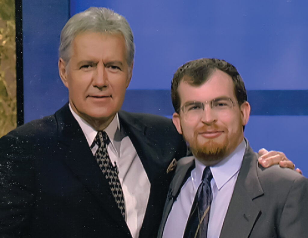 "Ben Wiles with Alex Trebek on the set of ""Jeopardy!"" when Wiles was a contestant."
