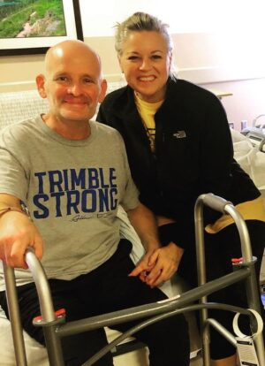 Mitch Wilburn, with his wife Shannon, spent six days in a rehabilitation hospital before getting to go home.