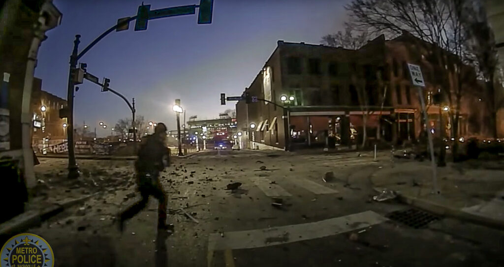 Body camera footage from Metro Nashville PD first responder Michael Sipos shows the scene of the Christmas morning bomb blast.