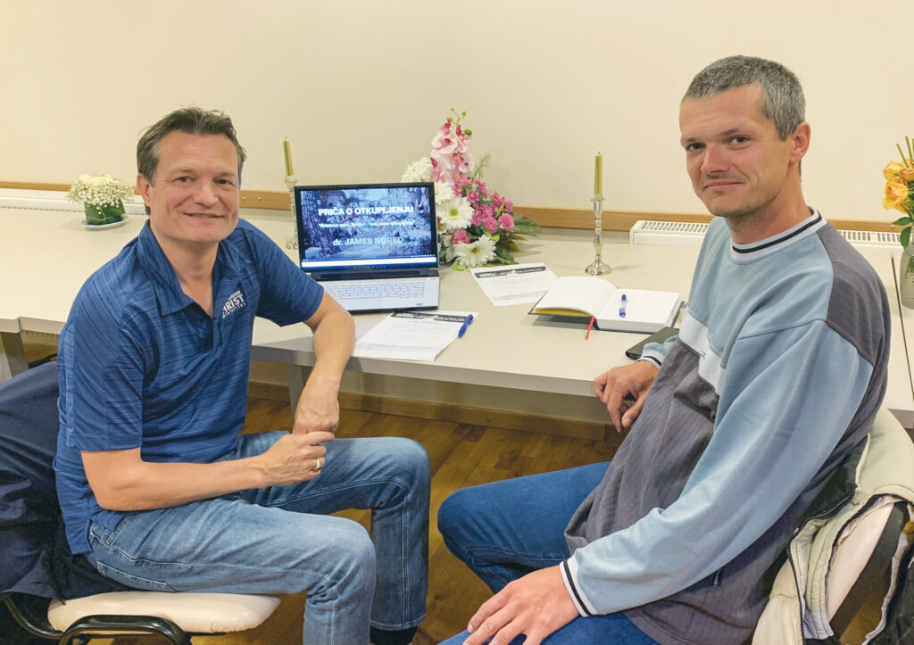 "James Nored studies the ""Story of Redemption"" with Ivica Zrna in Croatia."